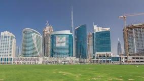 Панорамный взгляд hyperlapse timelapse залива дела и район центра города Дубай акции видеоматериалы