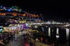 Панорамный взгляд Parga к ноча, Epirus - Греции стоковая фотография rf