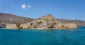 Панорамный взгляд Spinalonga, Крита, Греции стоковая фотография
