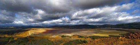 панорамный взгляд tailings пруда Стоковая Фотография RF