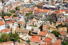Панорамный взгляд Афин от акрополя, Греции Стоковые Изображения