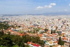 Панорамный взгляд Афин от акрополя, Греции Стоковое фото RF