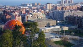 Панорамный взгляд Бадалонаы и Sant Adria de besos рано утром Барселона, Испания акции видеоматериалы