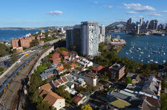 Панорамный взгляд горизонта Сиднея Стоковое фото RF