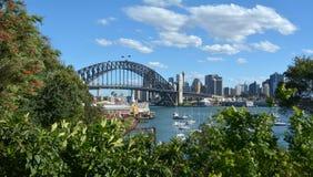 Панорамный взгляд горизонта Сиднея Стоковое Фото