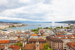 Панорамный взгляд города Женевы Стоковое фото RF
