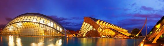 Панорамный взгляд города искусств и наук стоковое фото rf