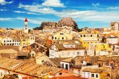 Панорамный взгляд городка Корфу старого Стоковые Фотографии RF
