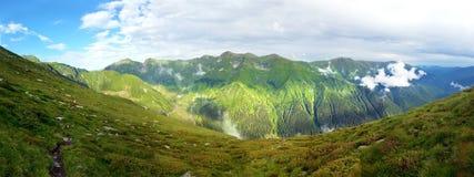 Панорамный взгляд горы Fagaras на лете Стоковые Изображения