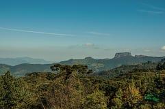 """Панорамный взгляд леса и пик известный как """"Pedra делают  Baú†около Campos делают Jordão стоковое изображение rf"""