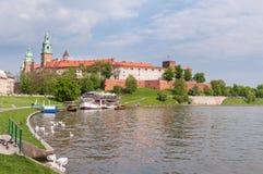 Панорамный взгляд замка Wawel Стоковая Фотография
