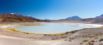 Панорамный взгляд замороженного озера соли на боливийских Андах Стоковые Изображения