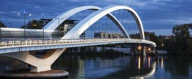 Панорамный взгляд известного моста в Лионе Стоковое Изображение RF