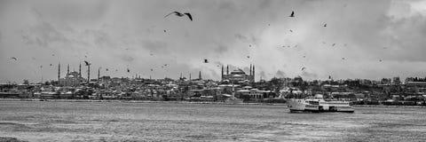 Панорамный взгляд исторического полуострова в Стамбуле Турции Стоковая Фотография