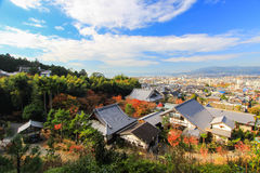 Панорамный взгляд Киото как увидено от виска Enkoji Стоковые Фото