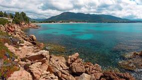 Панорамный взгляд курорта на море Sagone в Корсике стоковые изображения rf