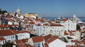 Панорамный взгляд Лиссабона, Португалии сток-видео