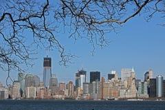 Панорамный взгляд Манхаттана Нью-Йорка Стоковые Фото