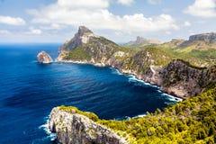 Панорамный взгляд накидки Formentor Мальорка Стоковые Изображения RF