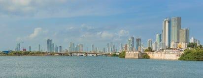 Панорамный взгляд на высоких зданиях подъема в высококачественной части автомобиля Стоковые Фотографии RF