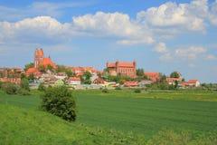Панорамный взгляд на городе Gniew, Польше Стоковые Фото