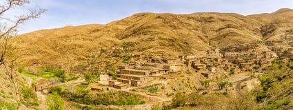 Панорамный взгляд на деревне в сельской местности Марокко Стоковые Изображения RF