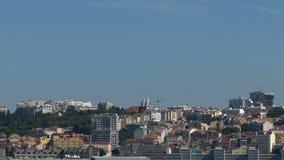 Панорамный взгляд на Лиссабоне сток-видео