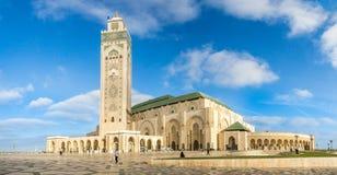 Панорамный взгляд на мечети Hasan II в Касабланке Стоковое фото RF