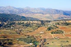 Панорамный взгляд на полях равнин Ronda окружающих Стоковое Фото