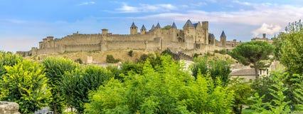 Панорамный взгляд на старом городе Каркассона в Франции Стоковые Изображения