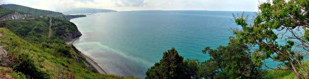 Панорамный взгляд на Чёрном море около Gelendzhik Стоковое Изображение RF