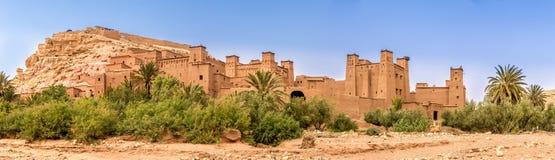 Панорамный взгляд на Kasbah Ait Benhaddou - Марокко Стоковые Изображения RF