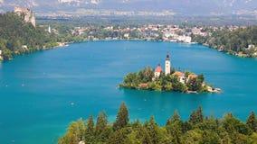 Панорамный взгляд озера Bled сток-видео