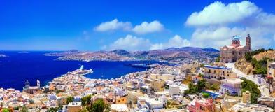 Панорамный взгляд острова Syros, Греции Стоковая Фотография RF