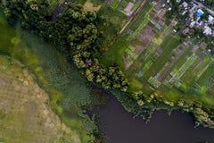 Панорамный взгляд долины с зелеными свежими полями и деревней воздушный взгляд сельской местности Стоковое фото RF