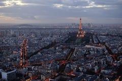 Панорамный взгляд Парижа на заходе солнца Стоковая Фотография RF