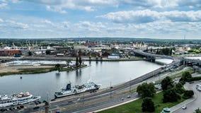 Панорамный взгляд портового района Szczecin Стоковые Изображения