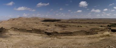 Панорамный взгляд пустыни Ait Benhaddou, Марокко стоковое изображение