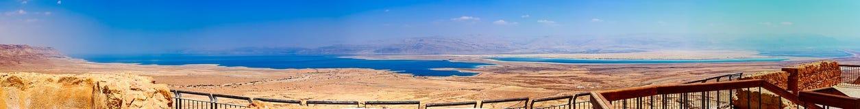 Панорамный взгляд пустыни Judaean, мертвого моря и холмов Джордана - Израиля Стоковое Изображение RF