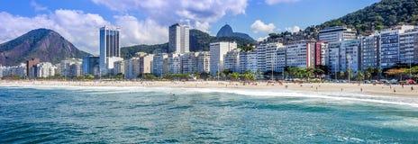 Панорамный взгляд пляжа Copacabana Стоковая Фотография RF