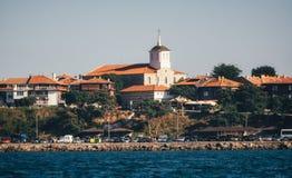 Панорамный взгляд древнего города Nessebar от моря стоковые изображения rf