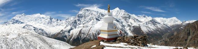 Панорамный взгляд ряда Annapurna Стоковое Изображение RF