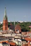 Панорамный взгляд сверху старого европейского городка; исторический город Стоковое Фото
