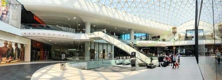 Панорамный взгляд спешкы толпы людей в интерьере мола покупок роскошном стоковая фотография rf