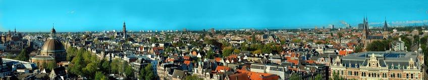 Панорамный взгляд старого города, Амстердама Стоковые Фотографии RF