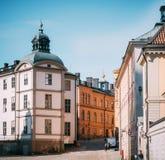 Панорамный взгляд старого городка Стокгольма Взгляд башни Birger Jarls стоковая фотография rf