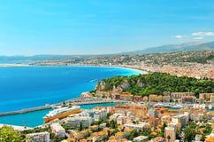 Панорамный взгляд славного, Средиземное море, Франция стоковые изображения