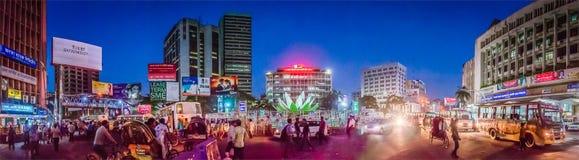 Панорамный взгляд торгового района Motijheel, Дакки Стоковые Фото