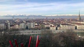 Панорамный взгляд Турина, Италии акции видеоматериалы