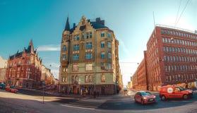 Панорамный взгляд улиц и зданий Katajanokka Стоковое фото RF